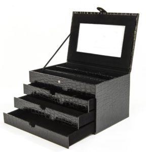 Luxor Schmuckkasten Lackleder-Kroko-Optik